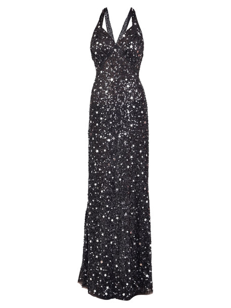 ATTICO Sequinned Long Dress in black