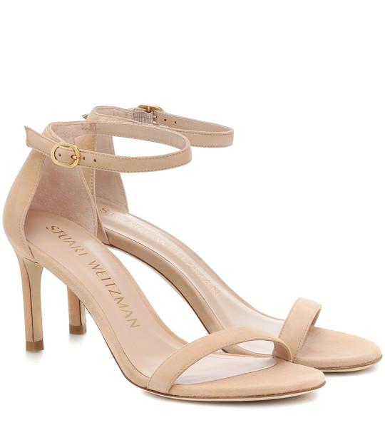 Stuart Weitzman Nunakedstraight 80 suede sandals in beige