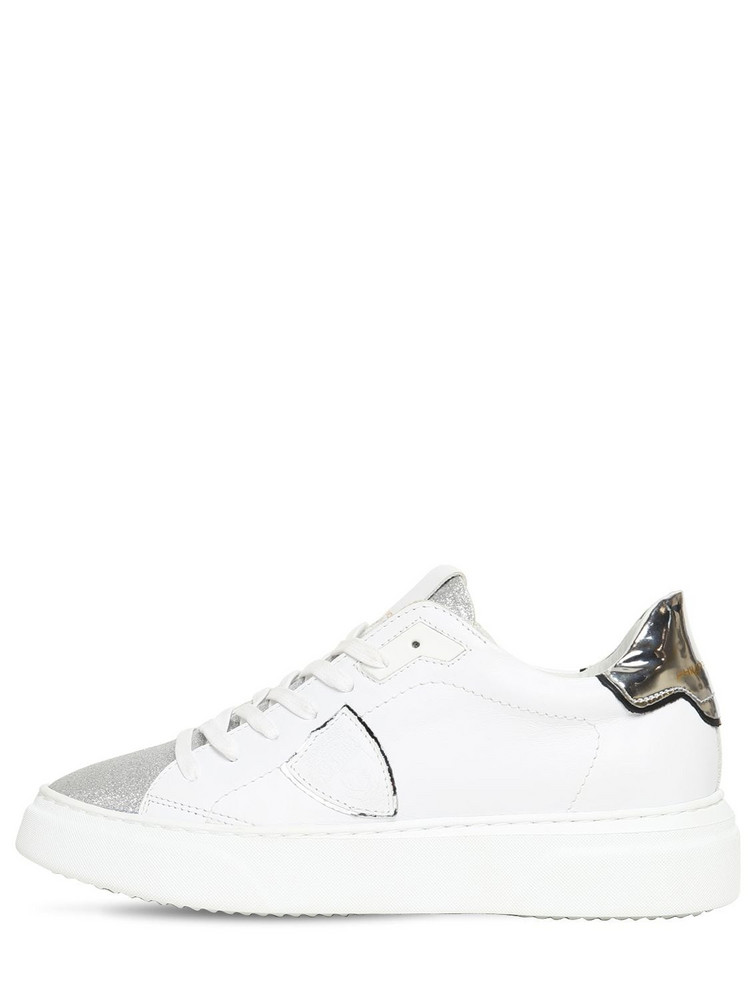 PHILIPPE MODEL Temple Glittered Leather Sneakers in silver / white