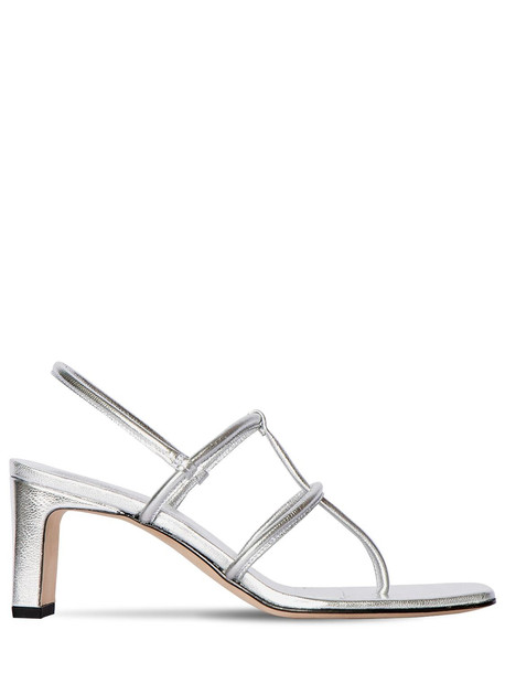 DORATEYMUR 65mm Metallic Leather Thong Sandals in silver