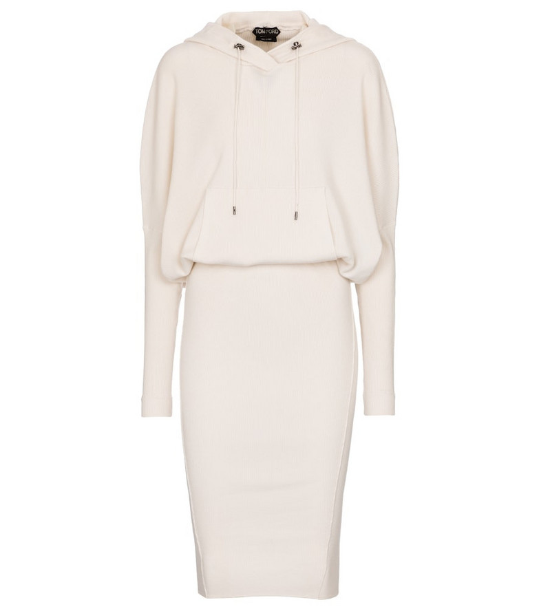 Tom Ford Cashmere-blend hoodie dress in white