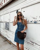 dress,mini dress,blue dress,denim dress,sunglasses,bag