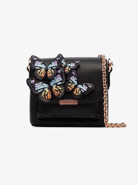 Sophia Webster black Claudie butterfly embellished leather cross body bag