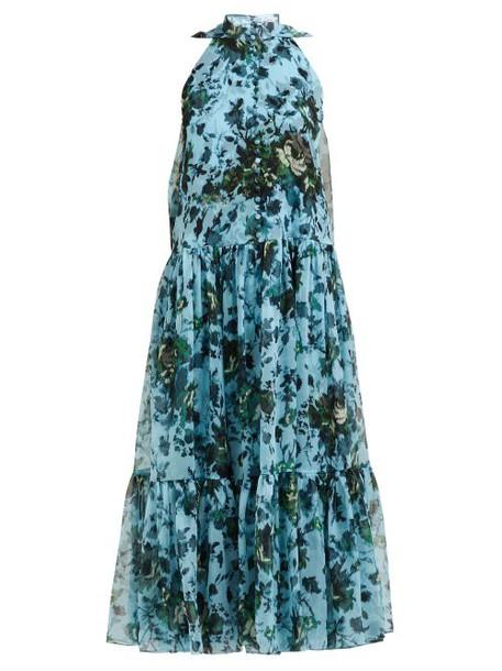 Erdem - Julianne Fitroy Print Silk Voile Gown - Womens - Blue Multi