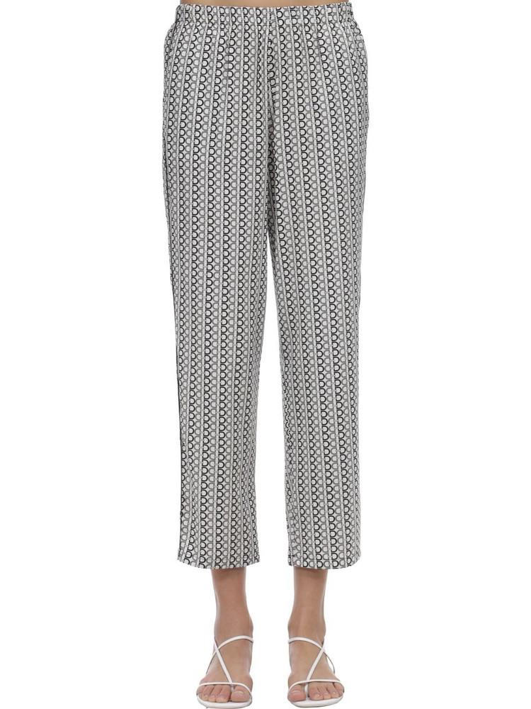 LAURA URBINATI Printed Silk Satin Pajama Pants in black / white