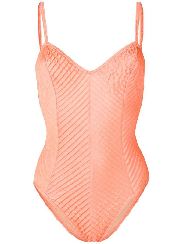 Jean Louis Scherrer Pre-Owned pleated effect swimsuit in orange
