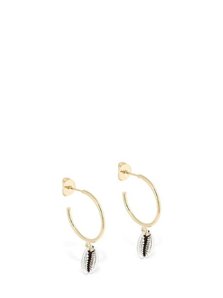 ISABEL MARANT Amer Shell Charm Hoop Earrings in gold / silver