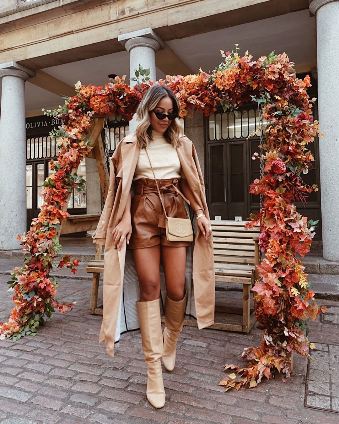 shorts High waisted shorts leather knee high boots trench coat turtleneck crossbody bag