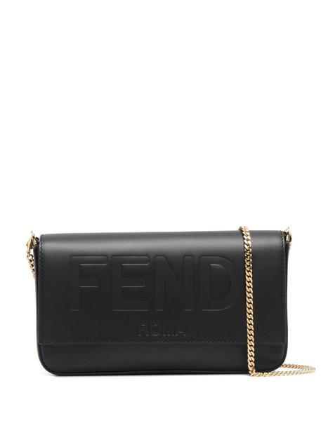 Fendi logo-debossed clutch bag - Black