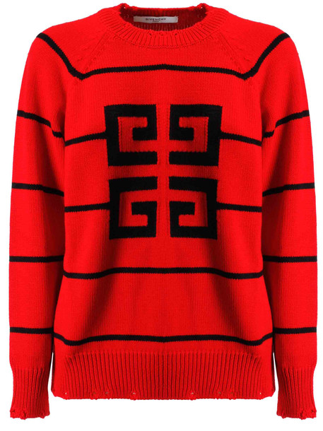 Givenchy Contrast Logo Sweater in red