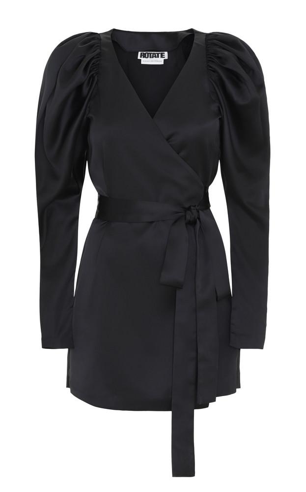 ROTATE Wrap Satin Mini Dress in black
