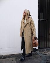 coat,oversized coat,trench coat,long coat,acne studios,black boots,black pants,brown bag,white sweater