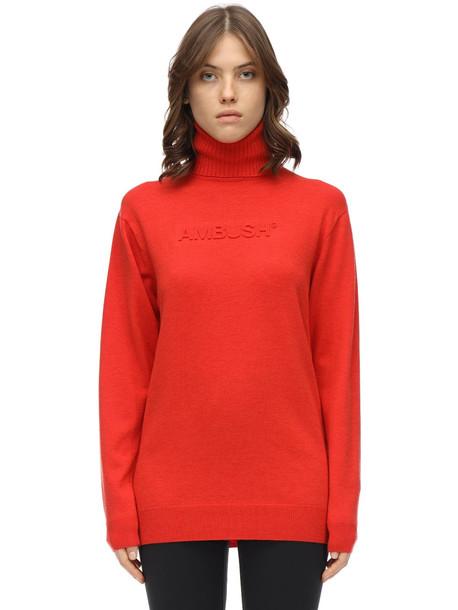 AMBUSH Embossed Wool Blend Knit Sweater in orange