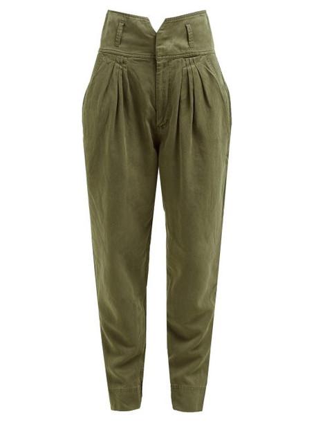 Frame - Pleated High Rise Slim Fit Trousers - Womens - Khaki