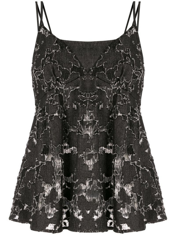 Goen.J lace embroidered camisole top in black