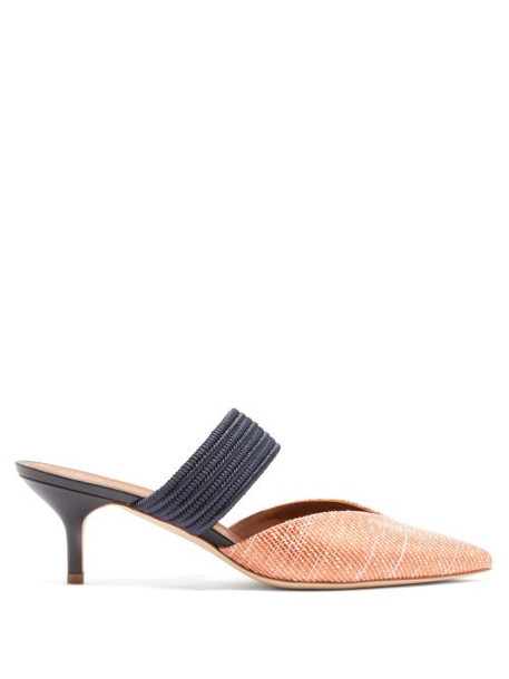 Malone Souliers - Maisie Raffia Mules - Womens - Orange Multi