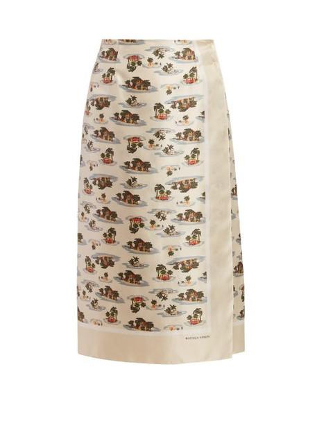 Bottega Veneta - Hawaiian Print Twill Skirt - Womens - Ivory Multi