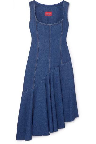 Solace London - Lewis Asymmetric Paneled Denim Dress - Dark denim