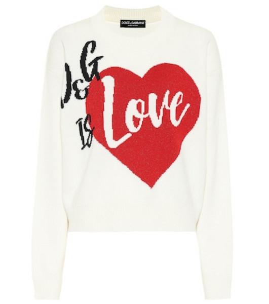 Dolce & Gabbana Intarsia cashmere-blend sweater in white
