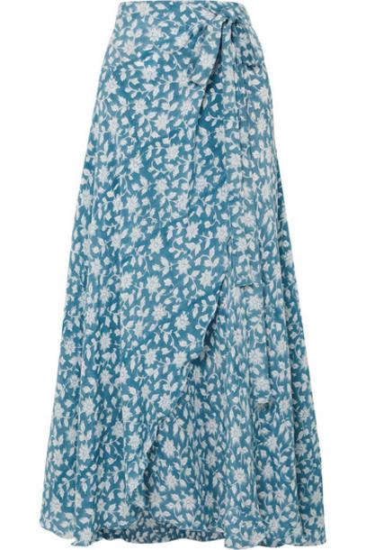 Hannah Artwear - Sapphire Floral-print Silk Crepe De Chine Wrap Skirt - Blue