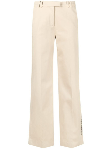 Karl Lagerfeld embroidered-logo wide-leg trousers in neutrals