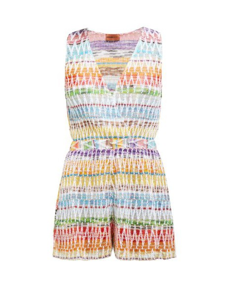 Missoni Mare - Chevron Topstitched Cotton Blend Playsuit - Womens - Multi