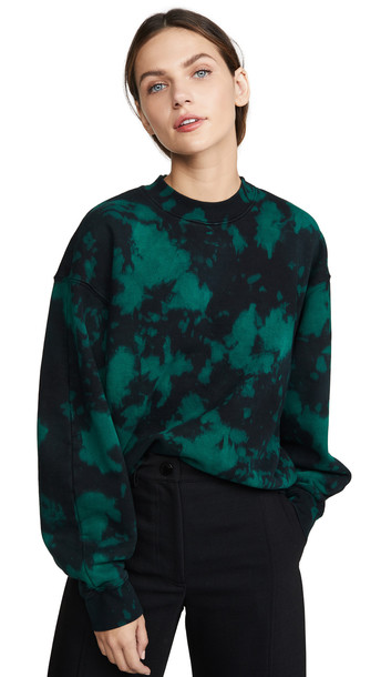 Proenza Schouler PSWL Oversized Tie Dye Sweatshirt in black / teal