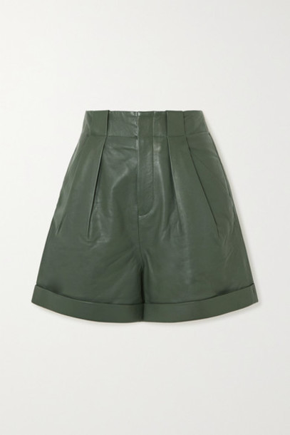 EQUIPMENT - Boyde Pleated Leather Shorts - Green