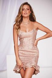 dress,rose gold,sequins,mini dress,party dress,frill