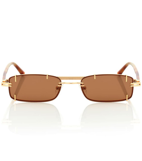 Y/PROJECT x Linda Farrow rectangular sunglasses in brown