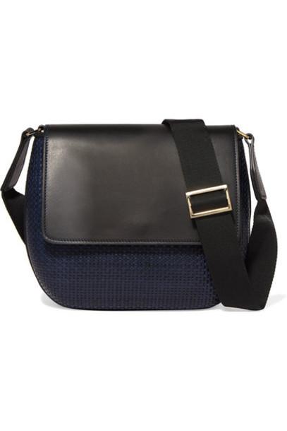 TL-180 - Le Panier Penelope Woven Leather Shoulder Bag - Navy