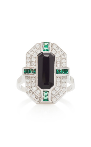 Melis Goral 14K White Gold And Multi-Stone Ring Size: 7 in black