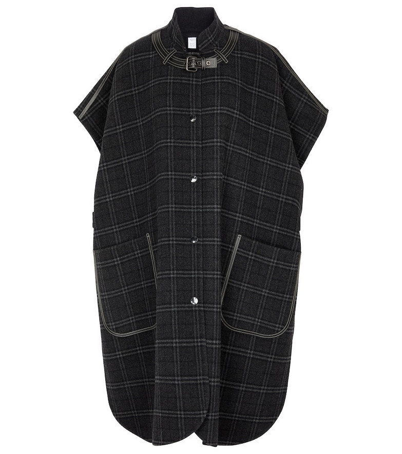 Burberry Checked wool and cashmere cape in blue