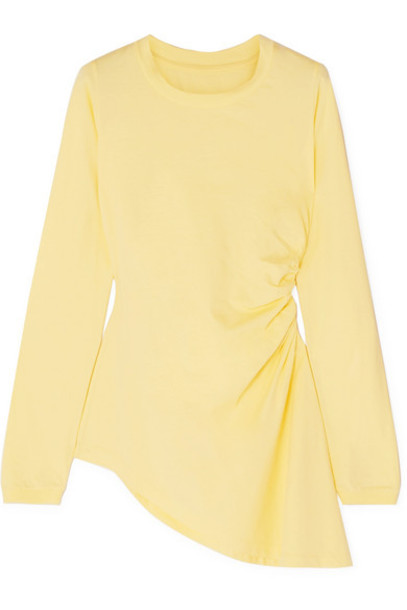 MM6 Maison Margiela - Asymmetric Ruched Cotton-jersey Top - Pastel yellow