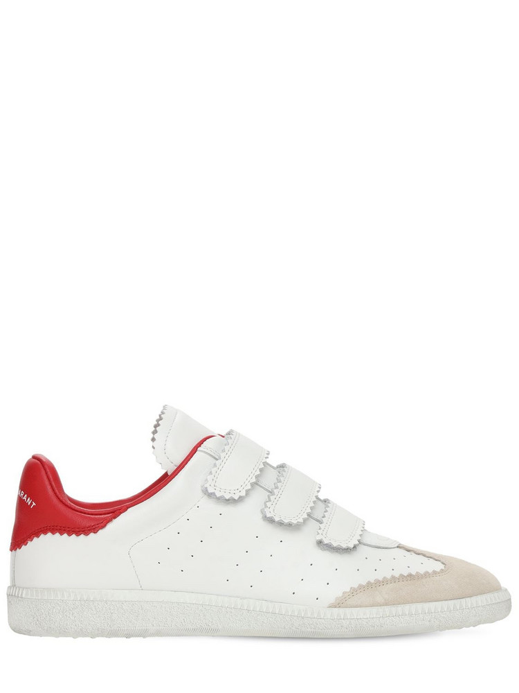 ISABEL MARANT 20mm Beth Leather Strap Sneakers in red / white