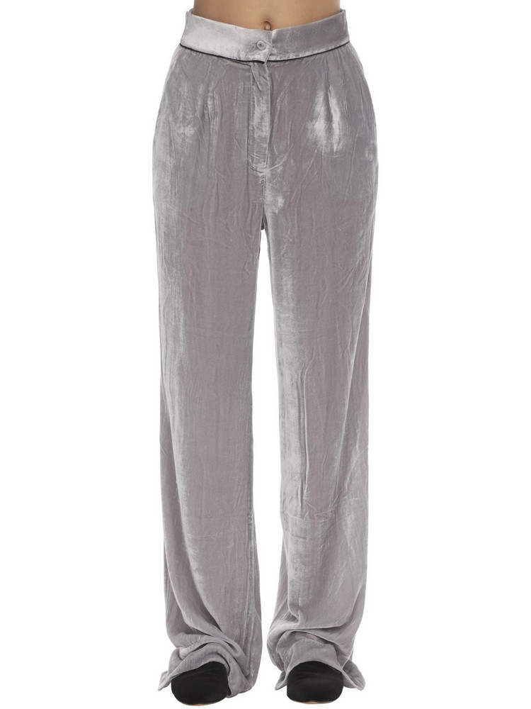 SLEEPING WITH JACQUES Velvet Pants in grey