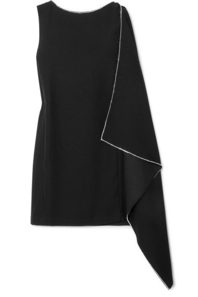 McQ Alexander McQueen - Crystal-embellished Draped Crepe Mini Dress - Black