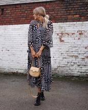 dress,midi dress,houndstooth,topshop,black boots,ankle boots,shoulder bag