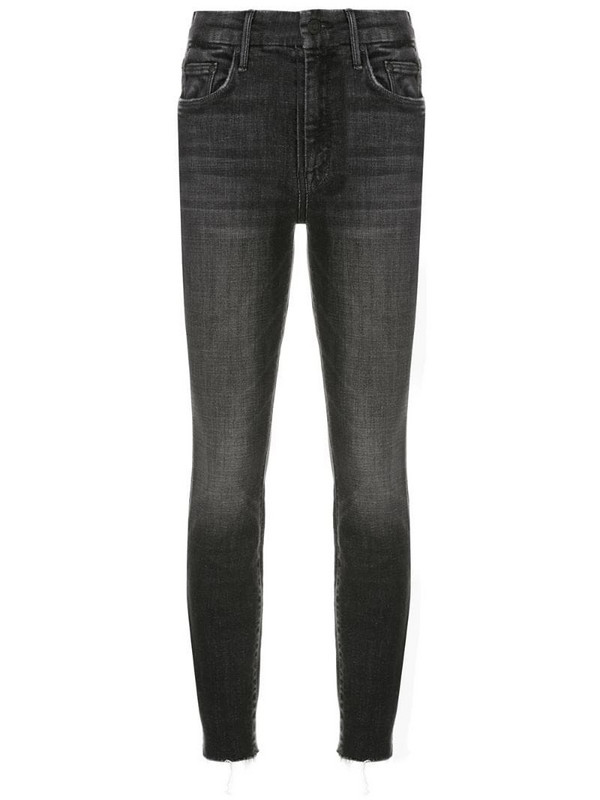 Mother raw-cuffs cropped jeans in black