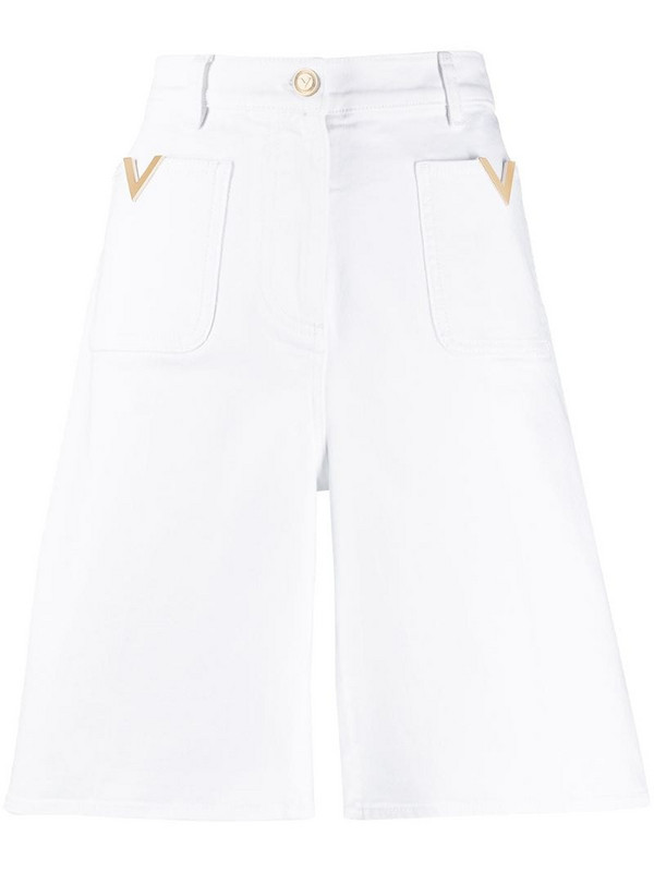 Valentino VGOLD high-waisted shorts in white