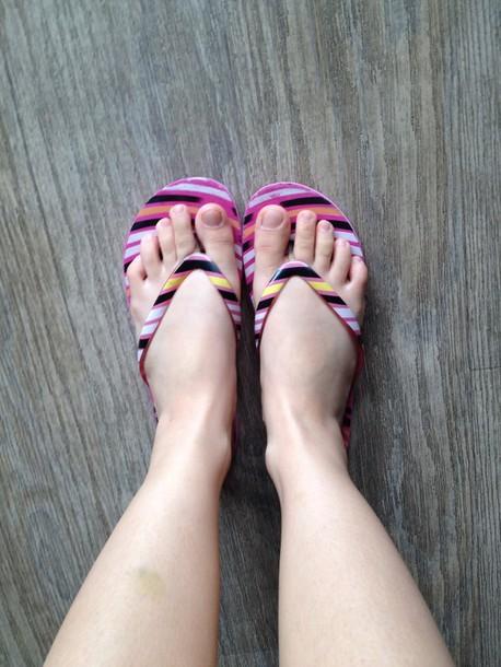 shoes pink flip flops multi color flip flops flip-flops summer flip flops