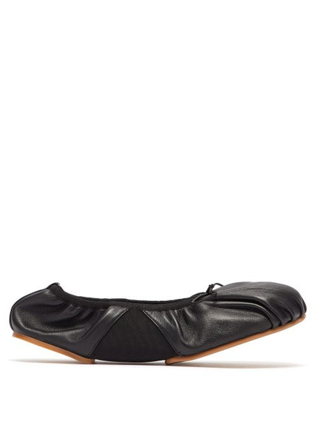 Acne Studios - Betty Ruched Leather Ballet Flats - Womens - Black