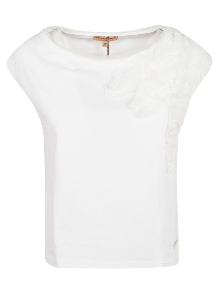 Ermanno Scervino Ruffled Detail T-shirt in white