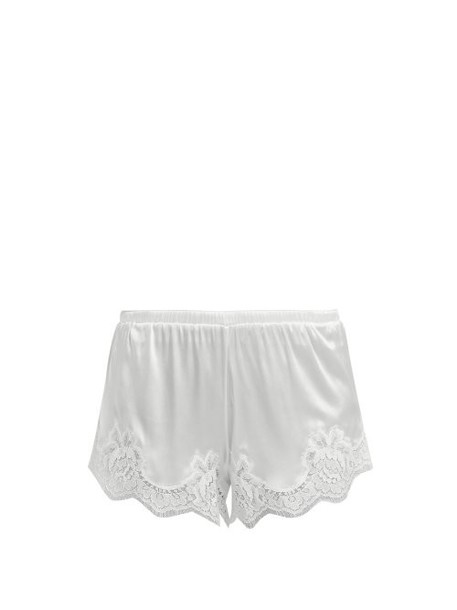 Dolce & Gabbana - Lace Trimmed Silk Blend Shorts - Womens - White