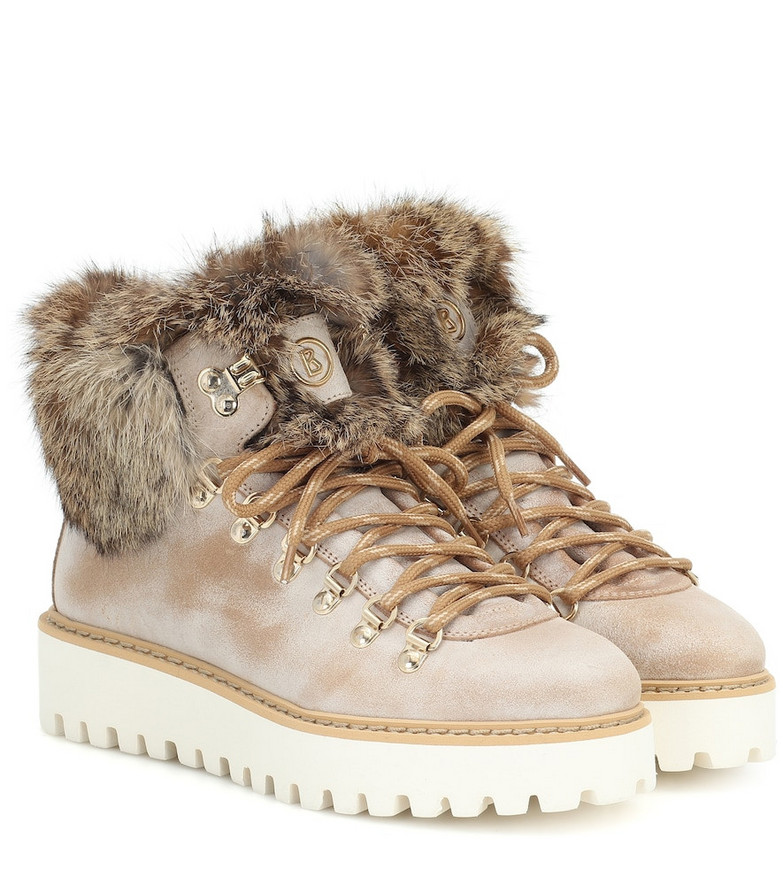 Bogner Oslo fur-trimmed leather snow boots in beige