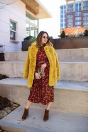polishedclosets,blogger,dress,coat,jeans,blouse,top,shoes,bag,sunglasses,belt,faux fur coat,yellow coat,winter outfits,ankle boots,red dress