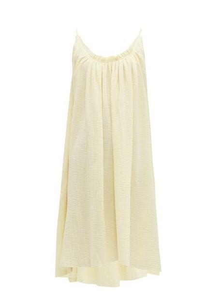 Loup Charmant - Gathered Cotton Gauze Dress - Womens - Yellow