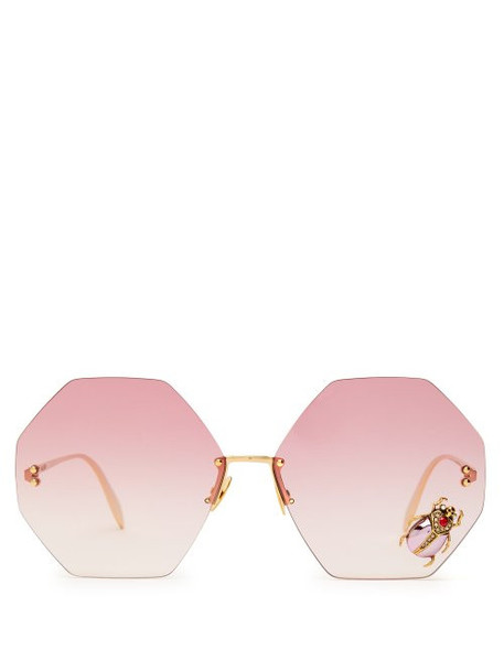 Alexander Mcqueen - Oversized Beetle Embellished Metal Sunglasses - Womens - Red Gold