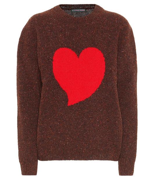AlexaChung Intarsia wool-blend sweater in brown
