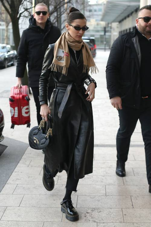 coat bella hadid model off-duty fall outfits celebrity leather